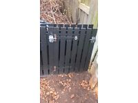 Solid wood black painted gates x5 all with ironmongery £20 for all 5 - grab a bargain!