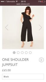 New Oasis black cropped jumpsuit size 12