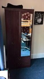 """Mahogany effect wardrobe with mirror 6'x30""""x20.5"""""""