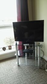 Glass TV stand, 3-tier