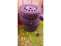 Steel wheels with tyres 5x108 195 65 15