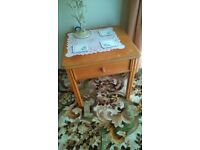 Fire Side or Armchair Single side table in light Yew hardwood