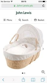 John Lewis wicker Moses basket and stand
