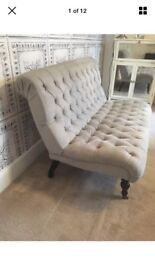 Herringbone Grey Studded Buttoned Sofa