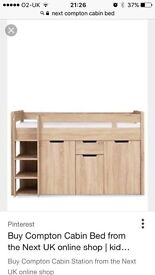 Next oak Compton cabin bed like new hardly used cost £575