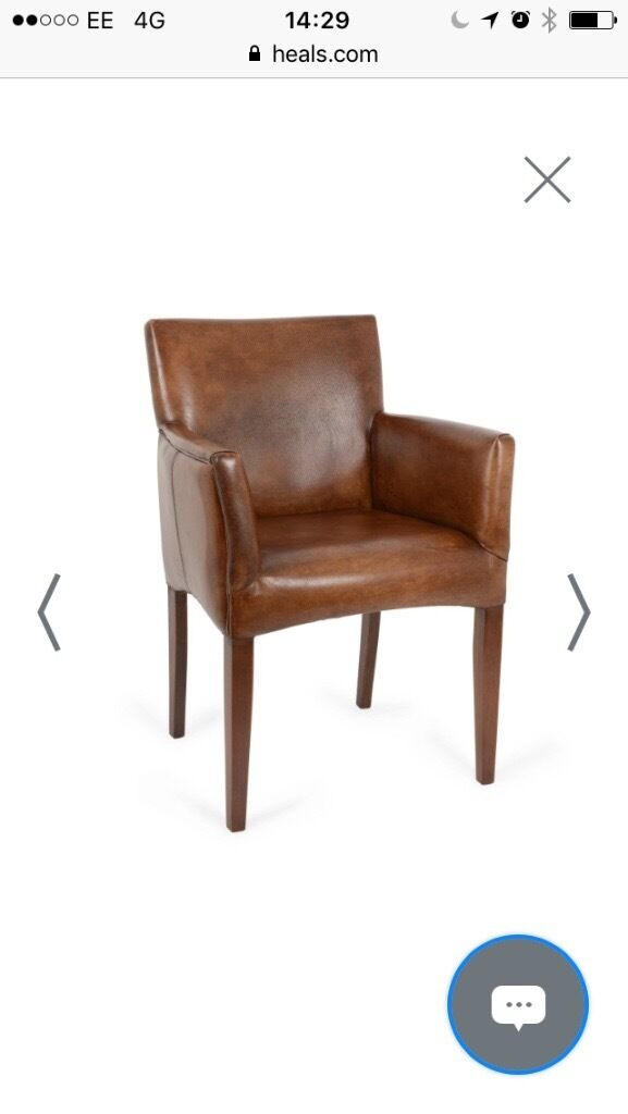 Brand New Heals Cuba Leather Carver Dining Chairs In Crystal - Carver dining chairs