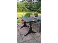 Black Granite top, cast Iron Base Kitchen, conservatory or Patio table