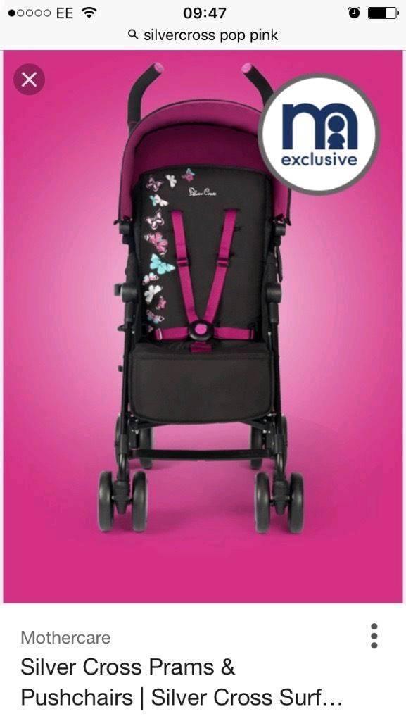 Brand New Silver Cross Pop Stroller Butterflies Pram/Buggy