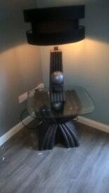 **BARGAIN - MUST SELL !! A HEAVY SET DESIGNER TABLE AND LAMP SET C/W BLACK SHADE ( HARDLY USED )