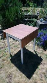 Retro vintage dropleaf small kitchen dining table extending refurbished painted