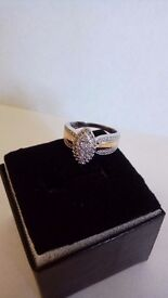Ladies Diamond ring in sterling silver with 14ct gold plating
