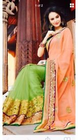 Peach and green saree