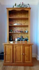 Large pine dresser, cupboard and shelving unit