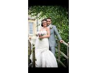 Ian Stuart designer wedding dress and matching veil