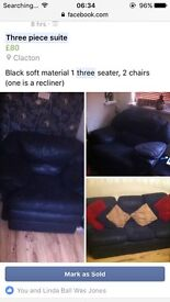 Three piece suite 3 seater, 2 chairs, one reclines