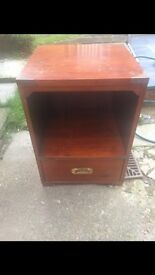 Bedside table solid wood heavy with drawer and side handles