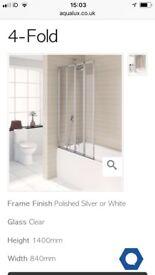Aqualux 4-fold silver bath/shower screen