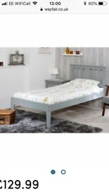 Brand new single bed frame, grey wood