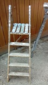 "Vintage wooden folding step ladder approx 55"" high"
