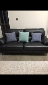 3 seater black leather sofa, perfect condition, Clayton sofa from sofology, modern comfy and stylish