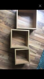 3x cube shelves