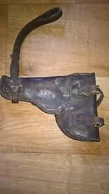 two leather pistol holders