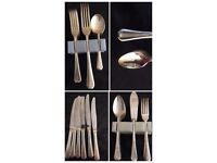 Large six place setting plated cutlery