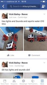 Fire engine with lights and sound and squirt real water