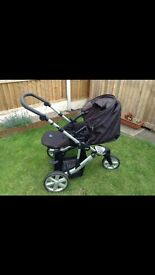 Britax 3 wheel pushchair with car seat