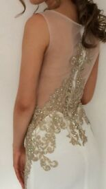 Halo white and gold Prom Dress size 6 worn once