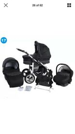 3in1 kunert Black pram suitable from birth in very good condition.