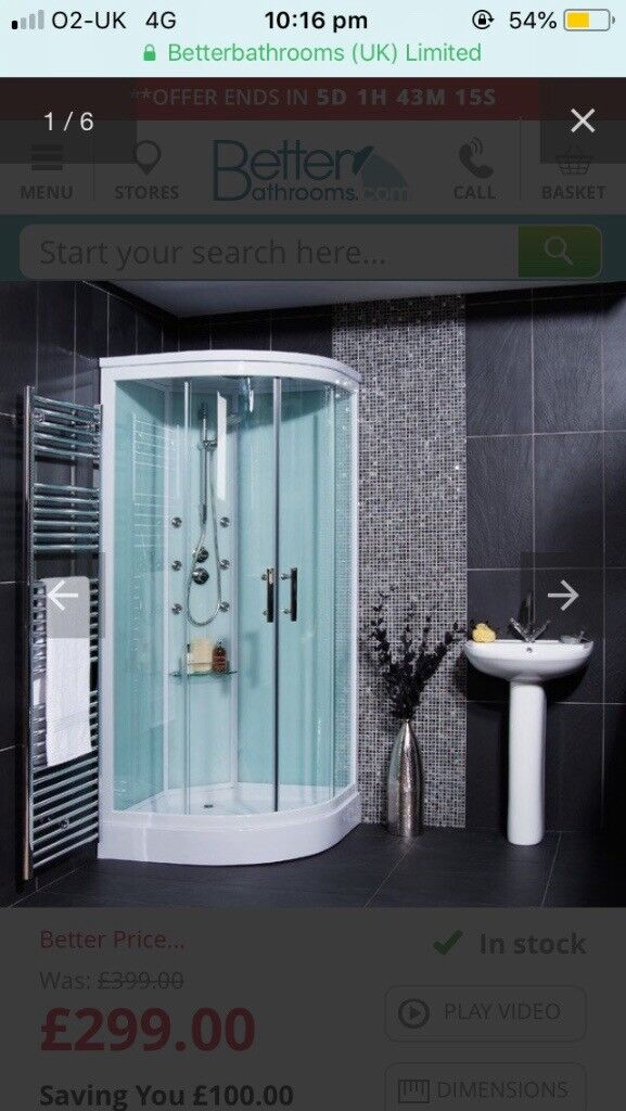 Shower cabin with jets and glass panel door (corner 900 by 900 size ...