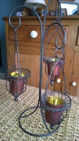 Hanging trio candle holder