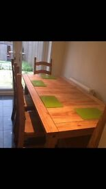 Classic (ex Hopewells)dining table and chairs .