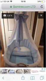 Baby crib with heart drapes