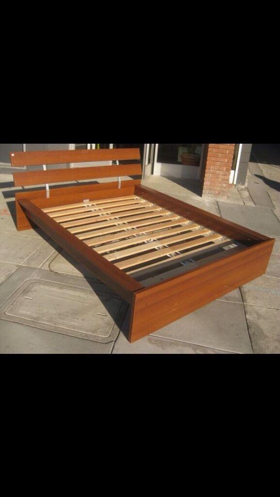 ikea hopen oak double bedframe with ikea sultan double mattress