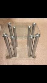 Stylish Glass Nest of 2 Tables with Stainless Steel Legs