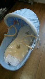 moses basket basinette for baby boy blue