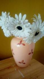 Large peach summer ceramic vase and large artificial white flowers