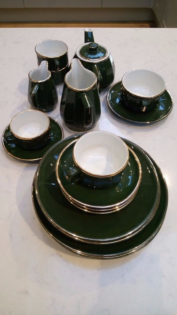 Apilco green and gold French bistro teapot, jugs, dinner plates ...