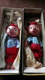 Pinky and Perky wooden puppets