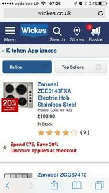 BRAND NEW zanussi stainless steel electric hob £70
