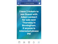 2 tickets Queen feat Adam Lambert 30th November Birmingham