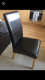 6 x brown leather chairs