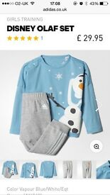 Brand new Olaf Adidas tracksuit with tags age 2-3
