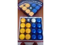 SET OF BLUE & YELLOW POOL BALLS