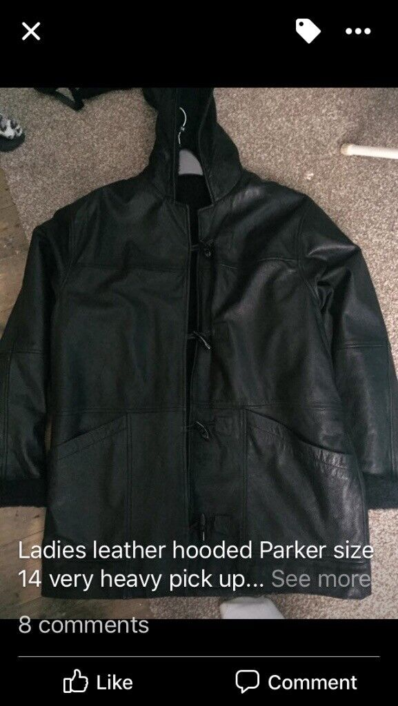 Ladies fur lined leather parka style coat size 14/16 for sale £30 ono