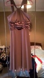 Brown chiffon dress with satin ruching UK 12