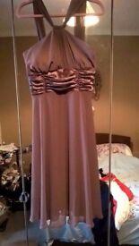 Brown chiffon dress with satin ruching UK 12