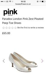 Paradox London ivory peep toe shoe